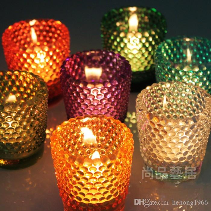 Pastoral Style Round Glass Candlestick Fashion Home Furnishing Decoration Creative Colorful Candle Holders 4 5ty R