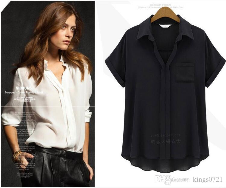 Casual Loose Summer Chiffon Blouses Shirt Women Plus Size Short Sleeve  Black White Shirt Female Tops Camisetas Mujer UK 2019 From Kings0721 6c974bf01ccc