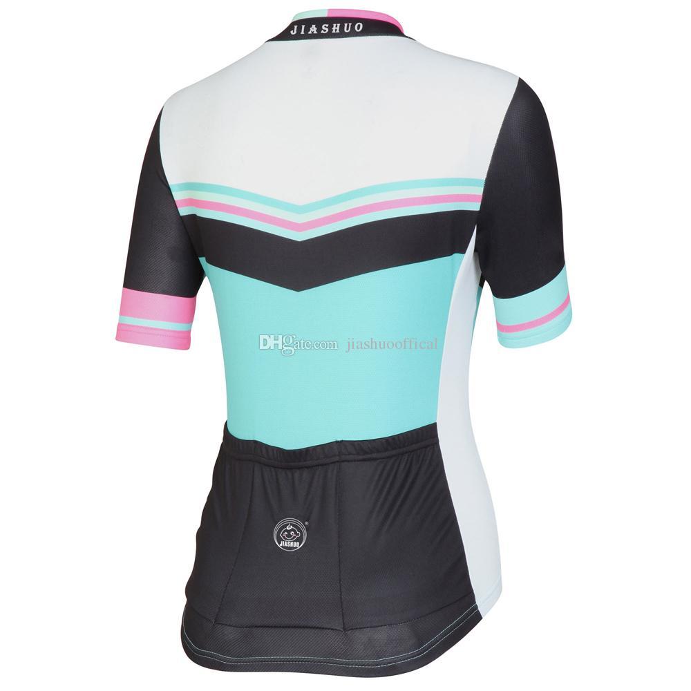 NOUVEAU Personnalisé Femmes Chaude 2017 JIASHUO Vert Blanc route vtt RACING Team Bike Pro Cyclisme Jersey / Chemises Tops Vêtements Air Respirant