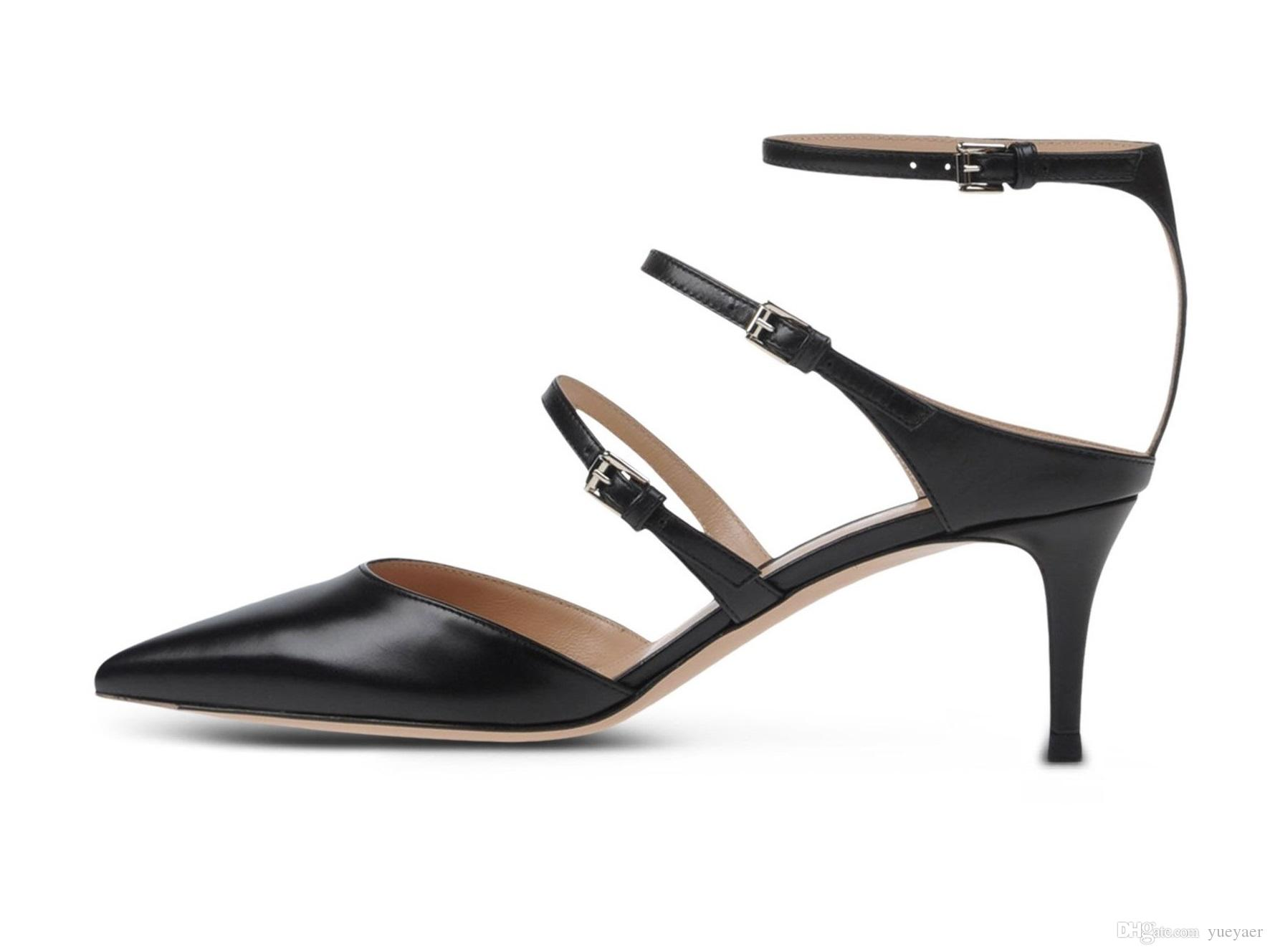 Zandina Femmes Dames À La Main De Mode 6,5 cm À Talons Sandales À Bout Bout Pointu Trois Boucles De Soirée Stiletto Chaussures