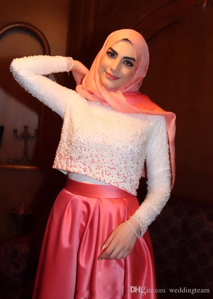 Elegante Zwei Stücke einer Linie Hochzeits-Kleid-Ausschnitt Langarm-Perlen Muslim Satin-Brautkleid-Schleife-Zug-Kapelle Bunte Brautkleid