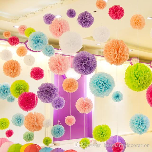 2019 Tissue Paper Pom Poms 12 5cm 1bag Diy Multi Colour Mixed Sizes Paper Flowers Ball Wedding Home Birthday Party Car Decoration From