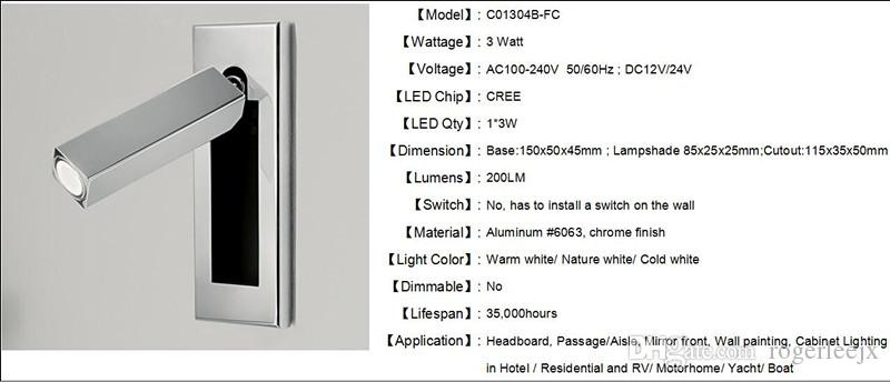 Topoch Modern Wall Sconces Semi-Recessed with Push Switch on the Backplate Head Swivels 90degree Left/Right/Forward 3W CREE LED 200LM