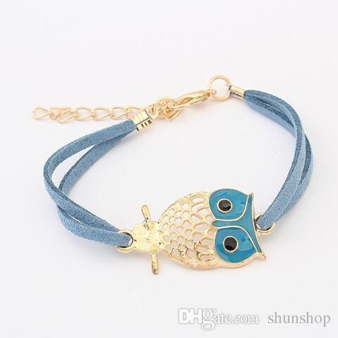 Wholesale Fashion bracelet hollow owl Charm Leather Bracelets Jewelry for Boys and Girls Christmas gift different colors free ship