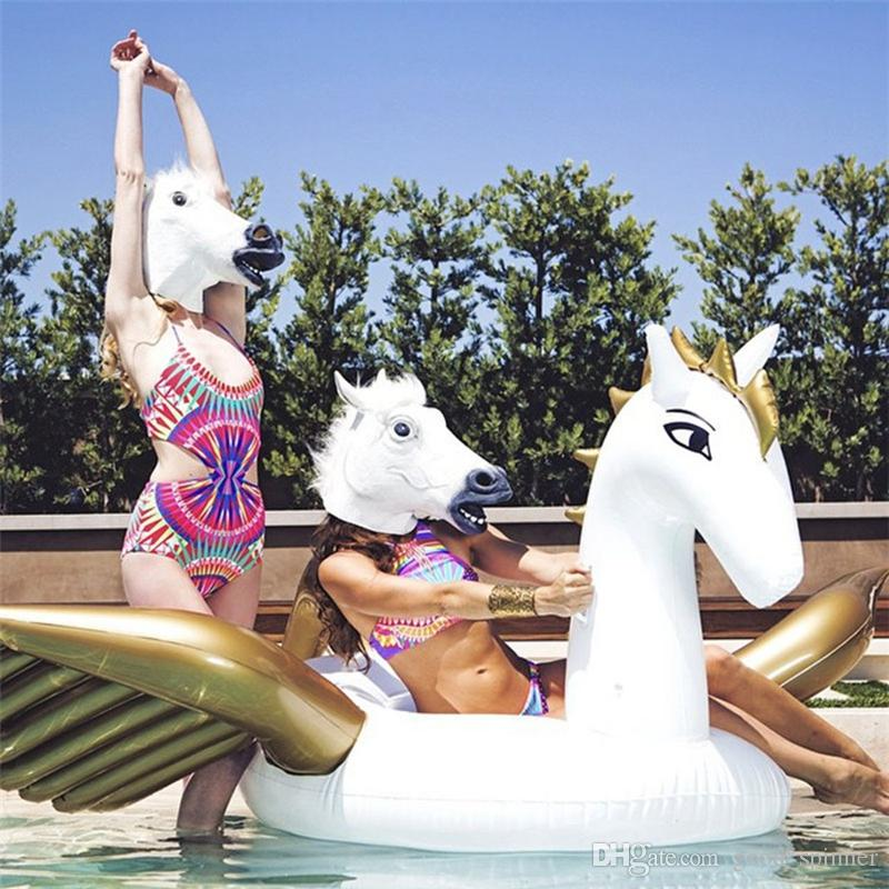 250CM 98in Inflatable Pegasus Water Floats Unicorn Water Rafts Gigantic Inflatable Pool Floats Swim Ring Air Mattress