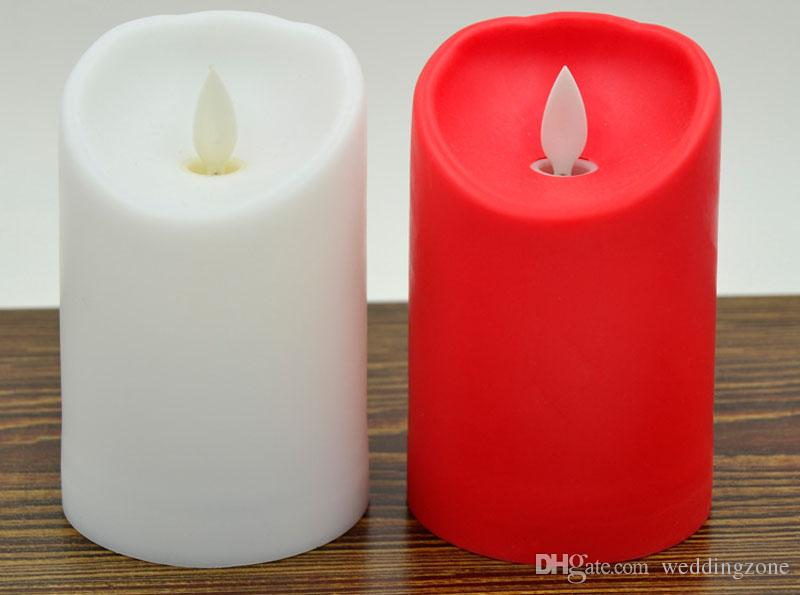 "3"" * 4.5"" Ivory Wax Flameless Moving Wick LED Candle For Wedding Bars Party Home decoration"