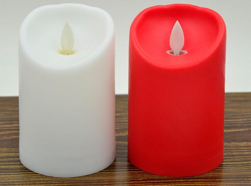 "Colorful Wedding Candle 3"" * 4.5"" Ivory Wax Flameless Moving Wick LED Candle For Wedding Bars Party Home Decoration with"