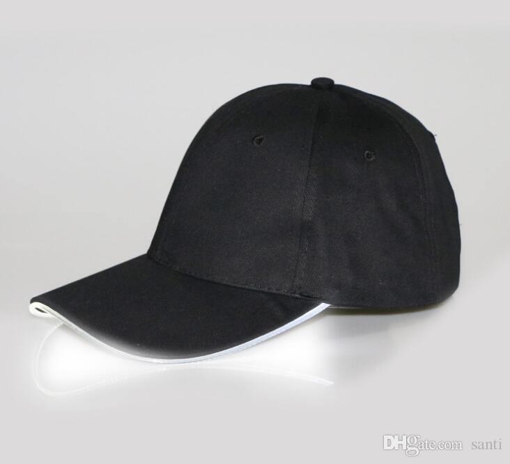 성인 모자 야구 빛에 대 한 LED 라이트 모자 글로우 모자 블랙 직물 선택 크기 크리스마스 파티에 대 한 빛나는 7 색상