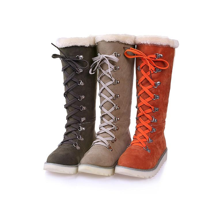 ca038811d6808 Winter Woman Snow Boots Lace-up Round Solid Suede Nubuck Leather ...