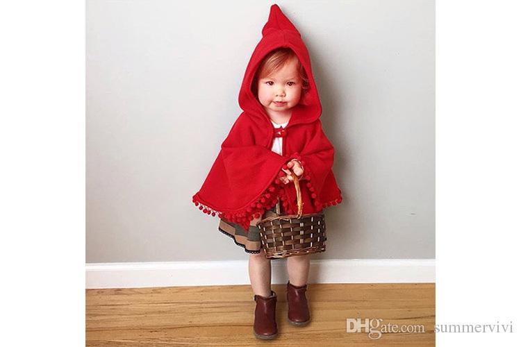 Ins Children Shawl Autumn Winter New Baby Girls Red Poncho Kids