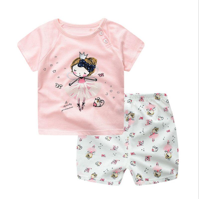 아기 여름 의류 세트 소년 소녀 짧은 소매 티셔츠 짧은 바지 아이 캐주얼 2 조각 정장 귀여운 나비 반바지 2017 어린이 옷