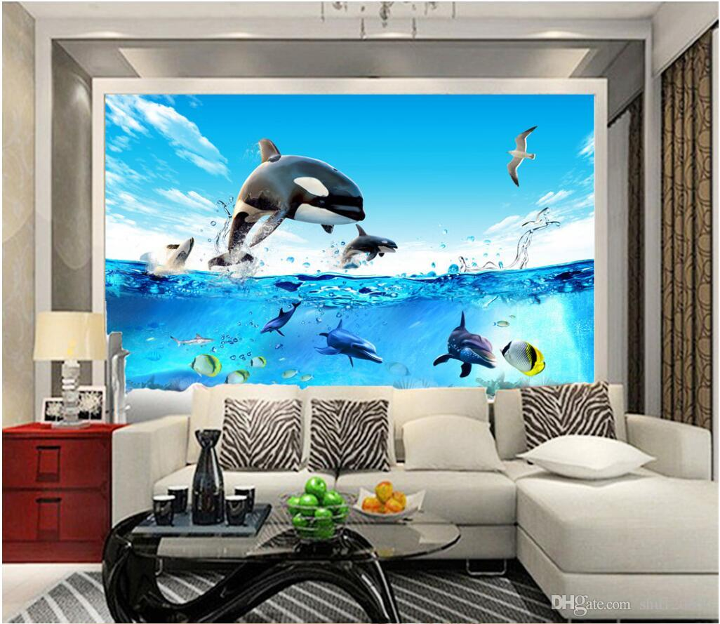 3d room wallpaer custom mural photo sea fish aquarium dolphin scenery picture decoration. Black Bedroom Furniture Sets. Home Design Ideas