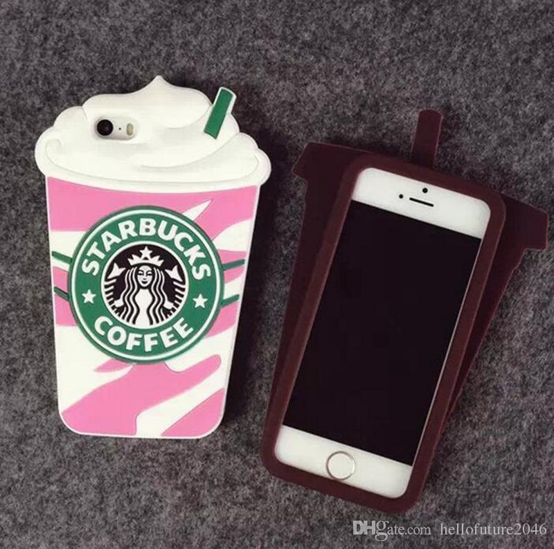 3D 패션 스타 벅스 커피 컵 시뮬레이션 소프트 젤 고무 실리콘 케이스 커버 아이폰 4 5 5S 6 7 플러스 iPhone7