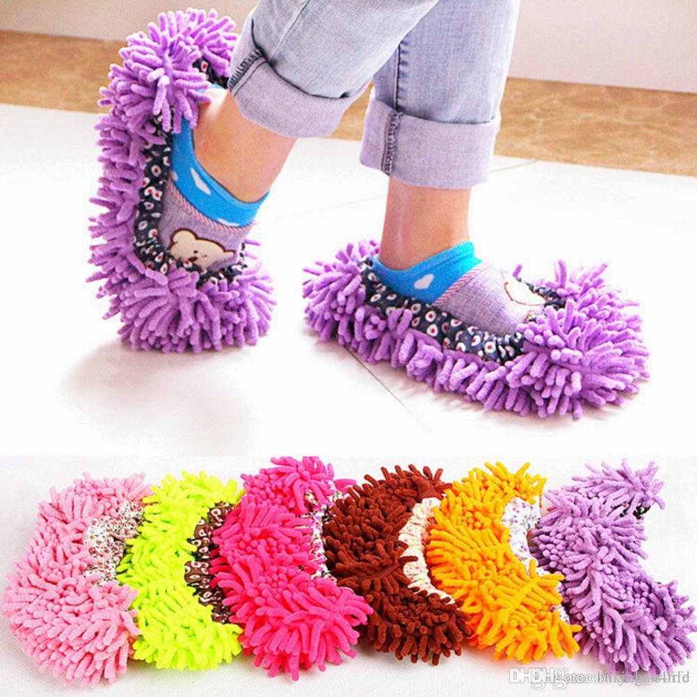 1 Pair Multi Function Chenille Washable Dust Mop Slippers