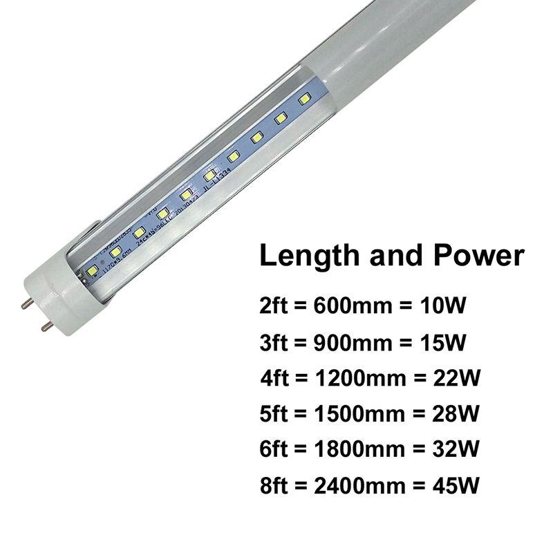 주식 US + 4ft 1200mm T8 LED 튜브 라이트 높은 슈퍼 밝은 18W 20W 22W 차가운 백색 LED 형광 전구 AC110-240V FCC