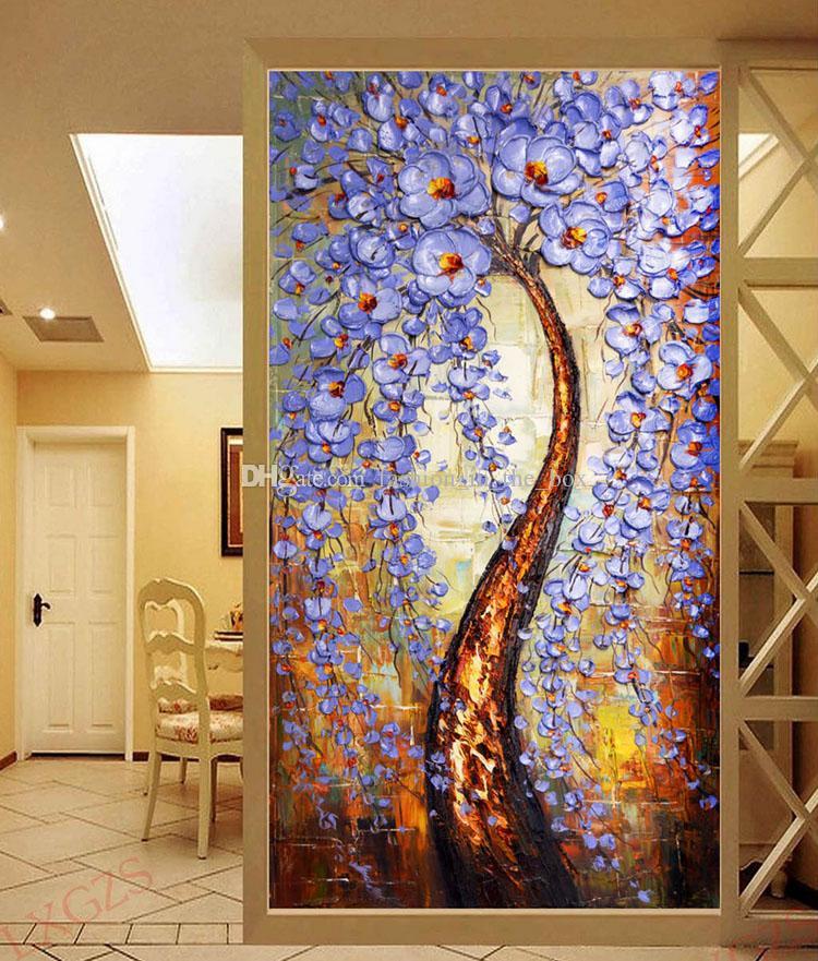 Satın Al Hayat Ağacı Duvar Kağıdı Bıçak Boyama Duvar Resmi özel 3d