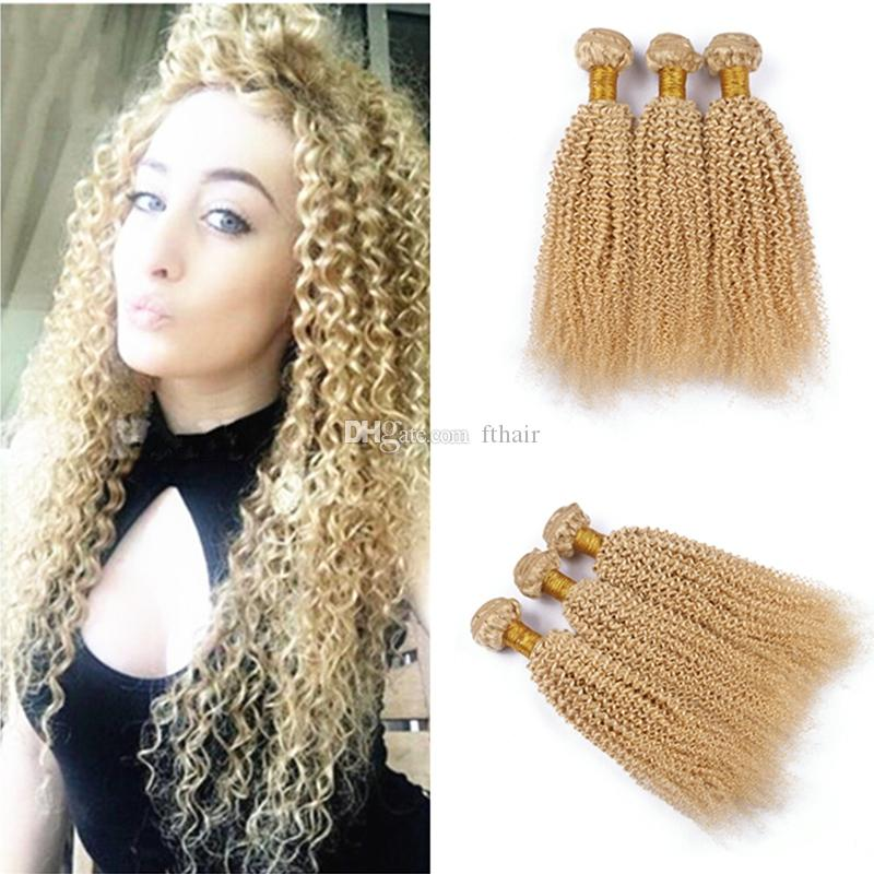 Peruvian Blonde Afro Kinky Curly Virgin Hair 3 Bundles Pure Color