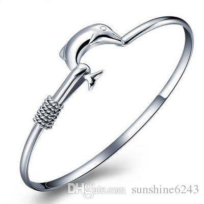 hot gift factory price 925 silver charm bangle Fine Noble mesh Dolphin bracelet fashion jewelry