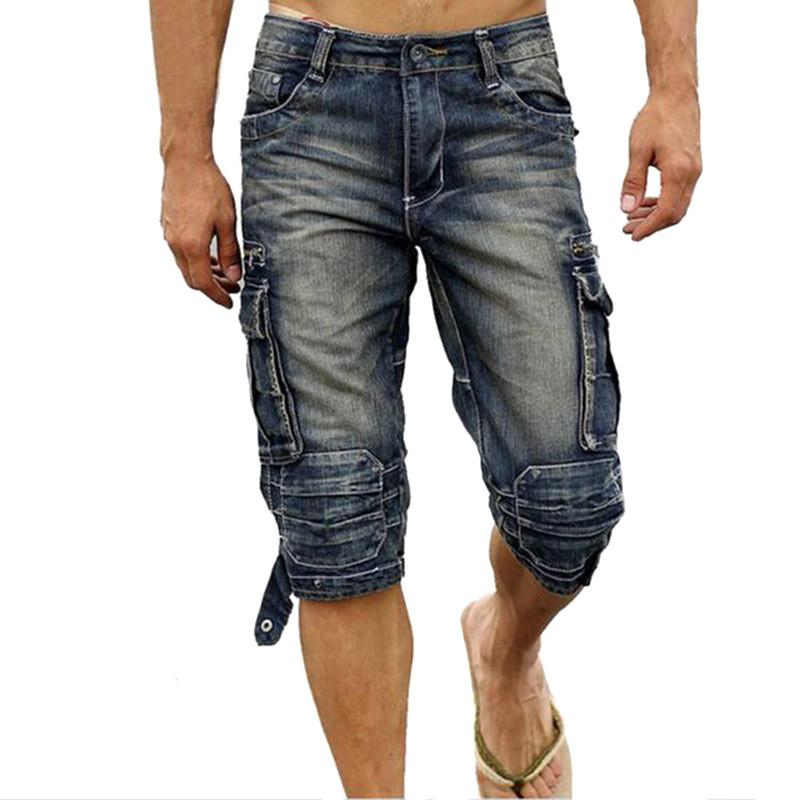 f0dbf4bd2658 2019 Wholesale Fashion Mens Biker Denim Cargo Shorts Multi Pockets Faded  Jean Shorts For Man Calf Length Motorcycle Short Joggers Plus Size 40 From  ...