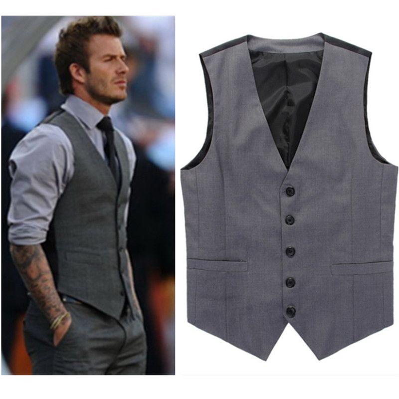 Compre Al Por Mayor Gris Slim Fit Chalecos De Vestir Para Hombres David  Beckham Formal Para Hombre Chalecos Chaleco De La Boda Chaqueta Sin Mangas  Blazer ... d6d1129a5a14