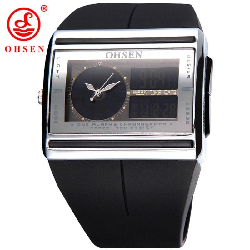 15a6d839 OHSEN Brand Fashion Square Электронные светодиодные часы Двойные цифровые и  аналоговые мужские наручные часы для наручных
