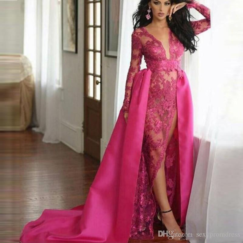 Middle East style fushia lace prom dresses sexy see through long sleeve evening gowns with satin overskirts deep v neck high split dress