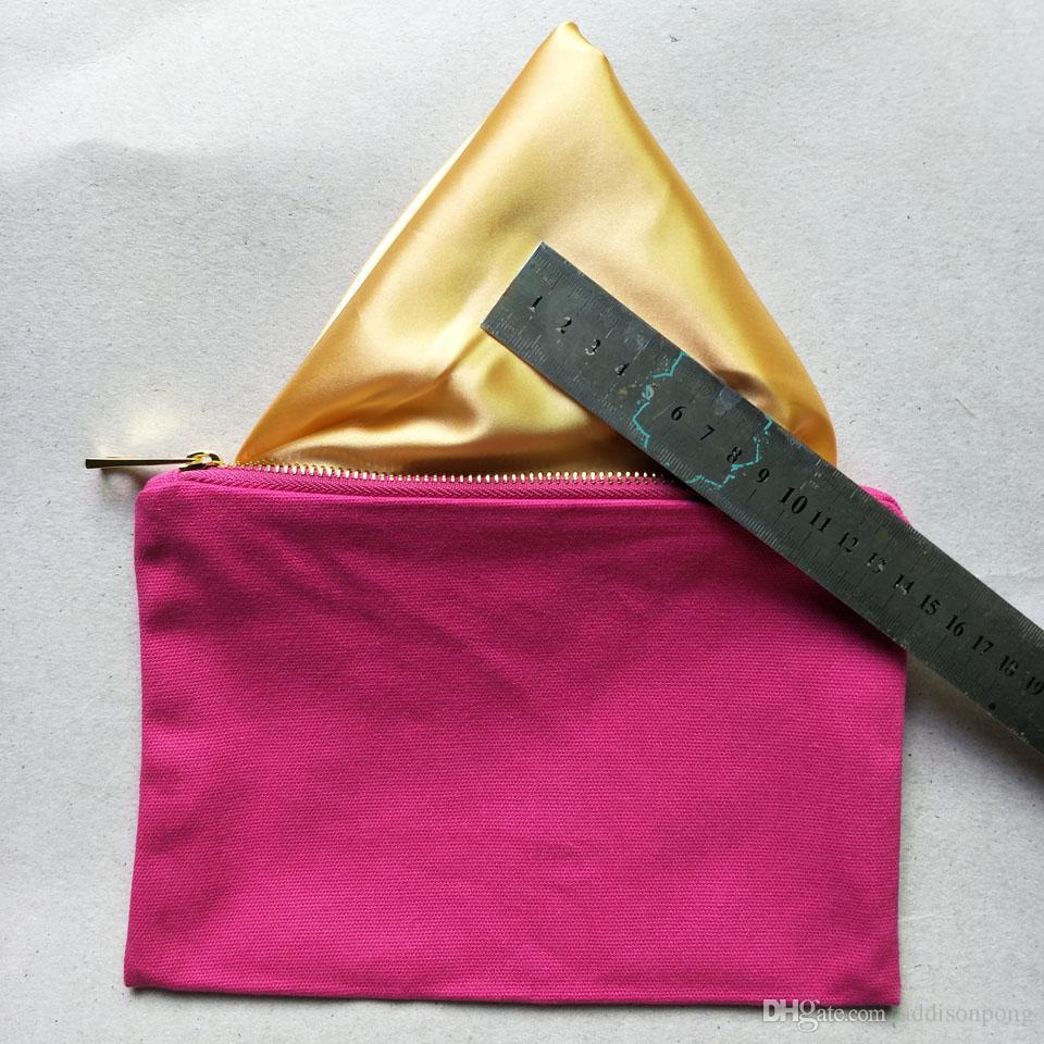 12oz spessa e durevole borsa di tela di cotone rosa caldo trucco con fodera oro zip oro 6 * 9in borsa di tela rosa caldo cosmetico libera la nave qualsiasi colore