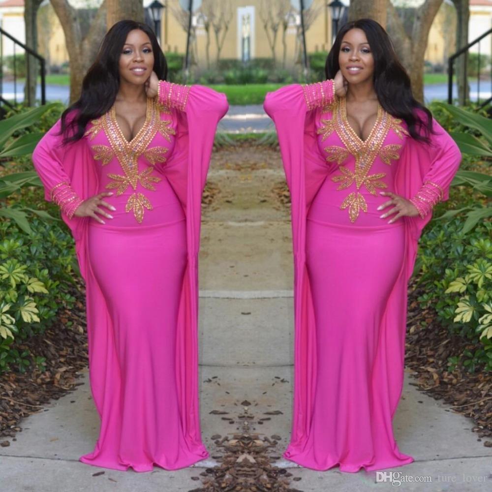 großhandel hot pink marokkanischen kaftan türkische abendkleider lange  Ärmel tiefem v ausschnitt abendkleider gold perlen arabisch dubai prom  party