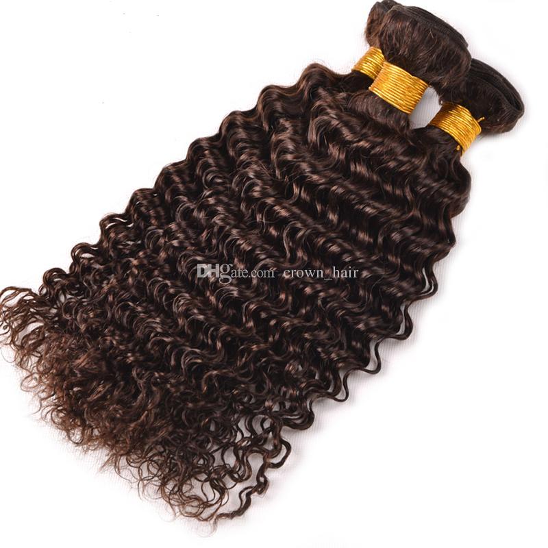 ダークブラウンブラジルのバージンヘアピュアカラー#4深い波の人間の髪4束チョコレート茶色の深い巻き毛の延ばす/ロット
