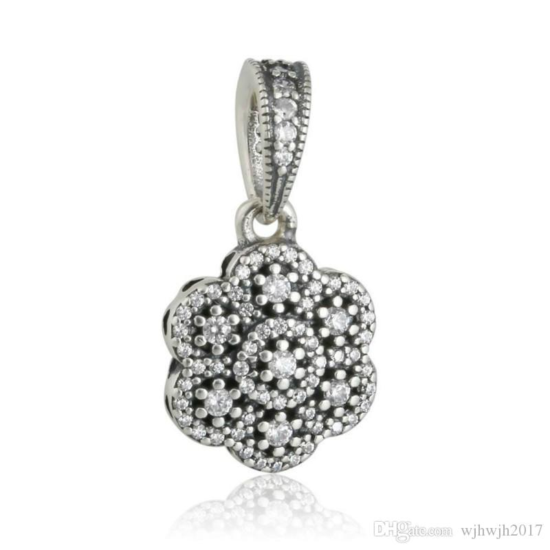 New Authentic 925 Sterling Silver Crystallised Floral Charms Pendant Bead Pave Crystal Dangle Flower Charm For DIY Brand Bracelets Jewelry
