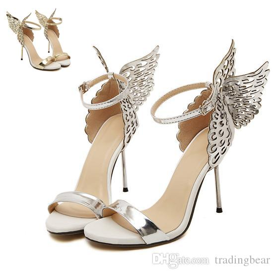4dc2d4f23caa6 Sophia Vampire Diaries female fantasy butterfly wing high heel sandals gold  silver wedding shoes size 35 to 40