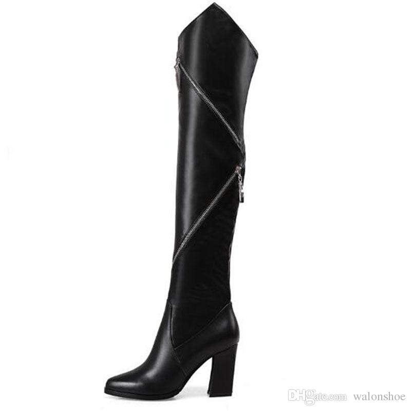 33aee549333 Luxury Brand Women Genuine Leather Knee Boots Ladies Black High Heel Tall  Boots Girl Cowskin Side Zipper Knight Boots Combat Boots Rain Boots From  Walonshoe ...