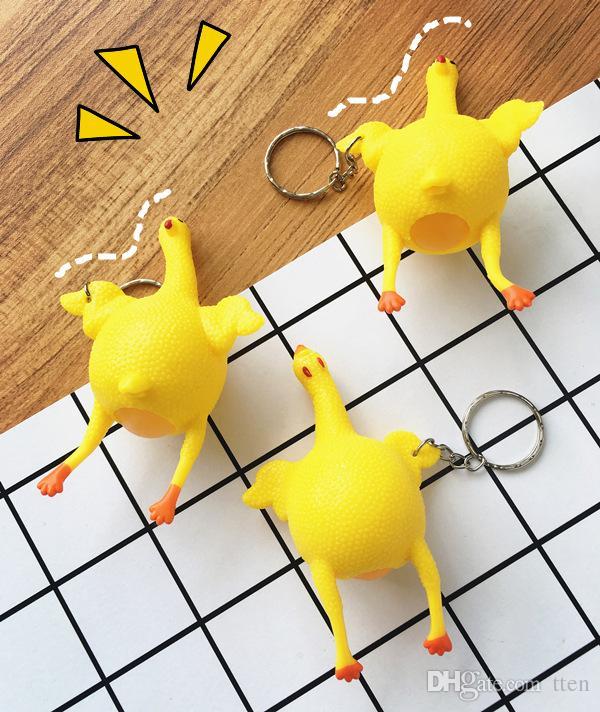 Nouveau stress de porte-clés de poulet soulager les jouets difficiles à évacuer Squeeze poulet pose œuf porte-clés jouets amusants de nouveauté
