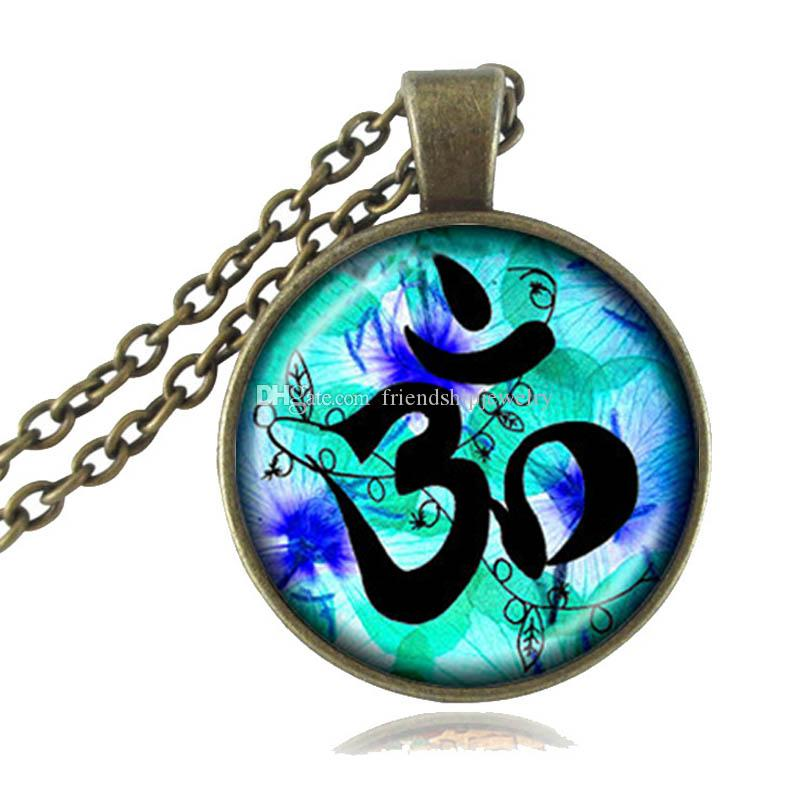 Om Pendant Necklace Lotus Jewelry Chakra Necklace Mandala Flower of Life Bronze Long Chain Statement Necklaces Cabochon Yoga Neckless Women