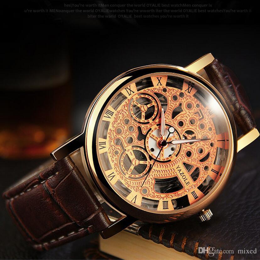 64898c87a86 Compre Yazole 321 Homens Esqueleto Relógio Top Marca De Luxo Famoso Ouro Masculino  Relógio De Quartzo Relógio De Pulso Para Homens De Quartzo Relógio ...