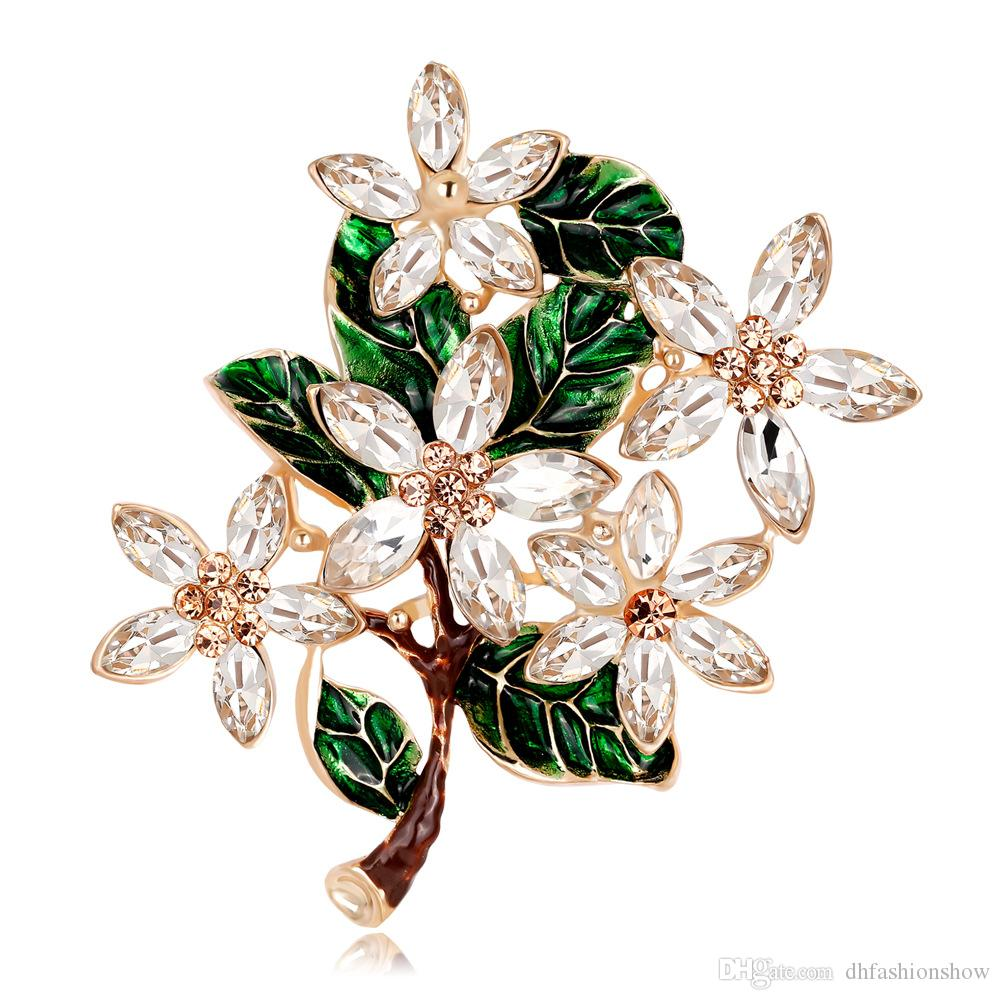 f1ee806be 2019 Vintage Flower Brooches For Women Fashion Luxury Crystal Rhinestones Brooch  Pins Enamel Jewelry Wedding Party Gift Scarf Buckle From Dhfashionshow, ...
