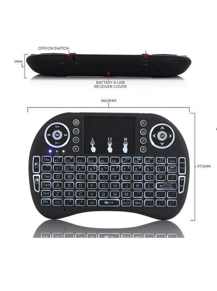 Luz de fundo I8 2.4 GHz Teclado Sem Fio Remoto Controler Três Cores Air Mouse Touchpad Handheld Retroiluminado para Android TV BOX Mini PC Cradle