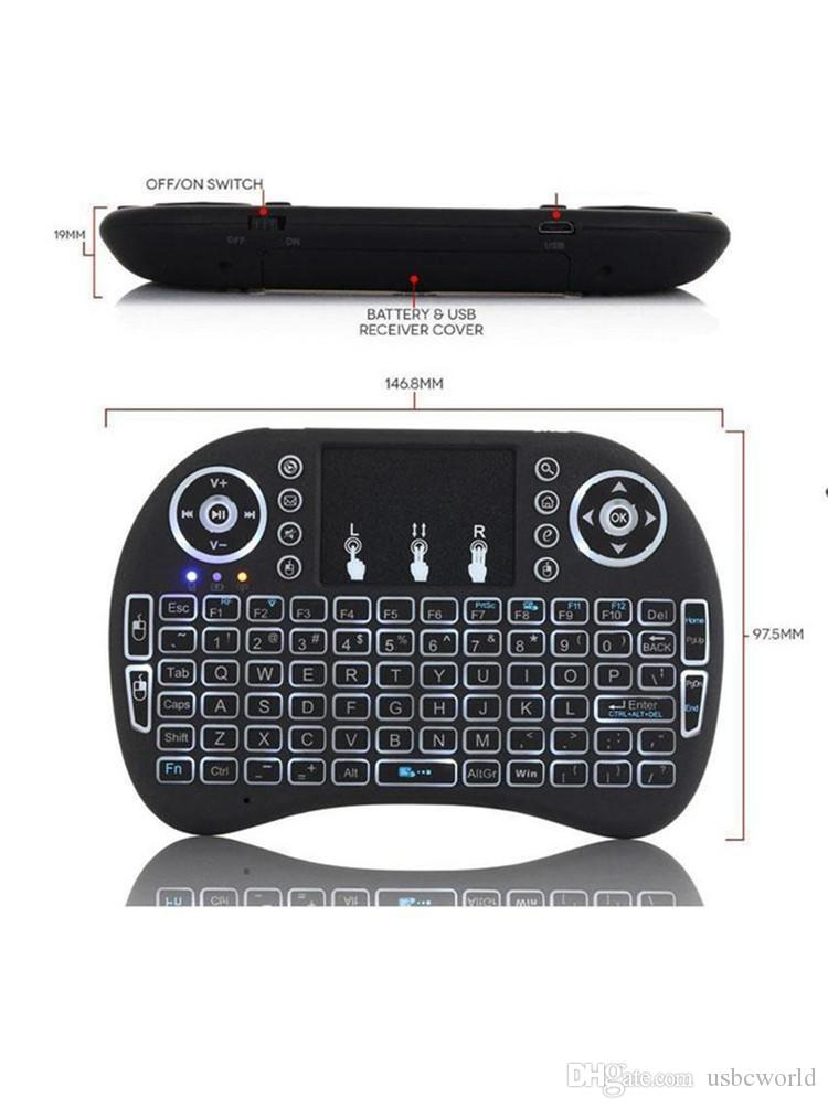 Rétro-éclairage I8 2.4 GHz Clavier Sans Fil Télécommandes Contrôleur Trois Couleurs Air Souris Touchpad De Poche Rétro-Éclairé Pour Android TV BOX Mini PC Berceau