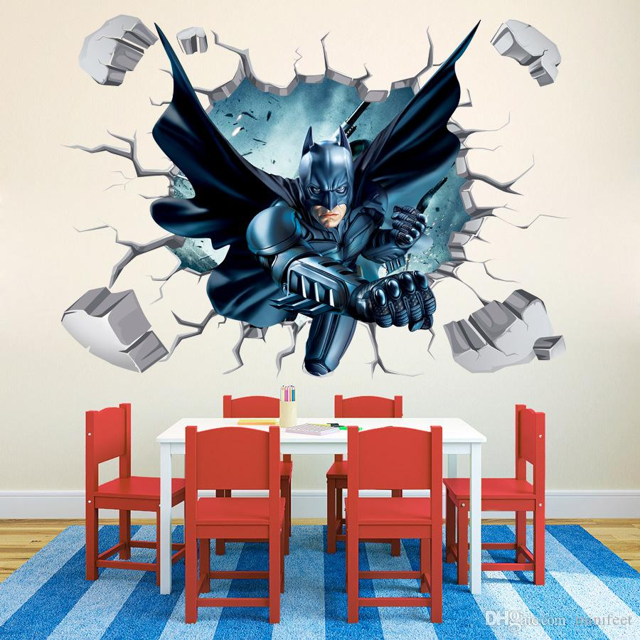 3d wallpaper cartoon broken wall stickers batman wall mural see larger image amipublicfo Images