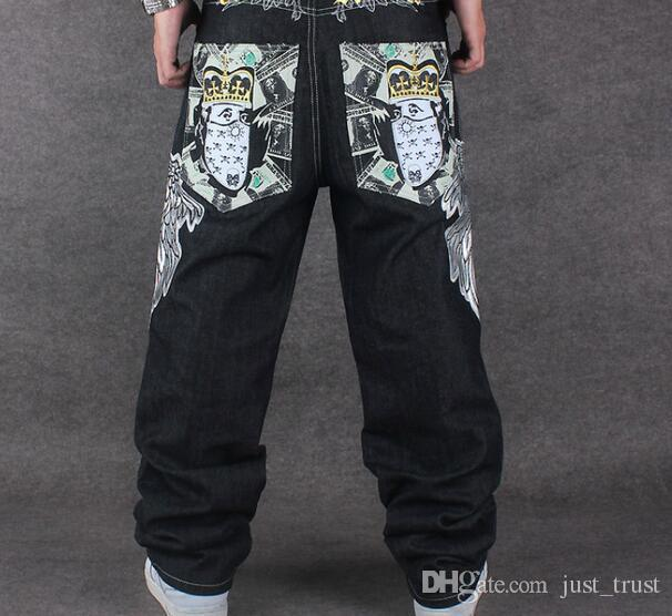 Top popular COOL Graffiti long Loose Relaxed Casual Pants fashion NY Skateboard embroidery Dragon jeans Rap boy B BOY Trousers Size 34~42