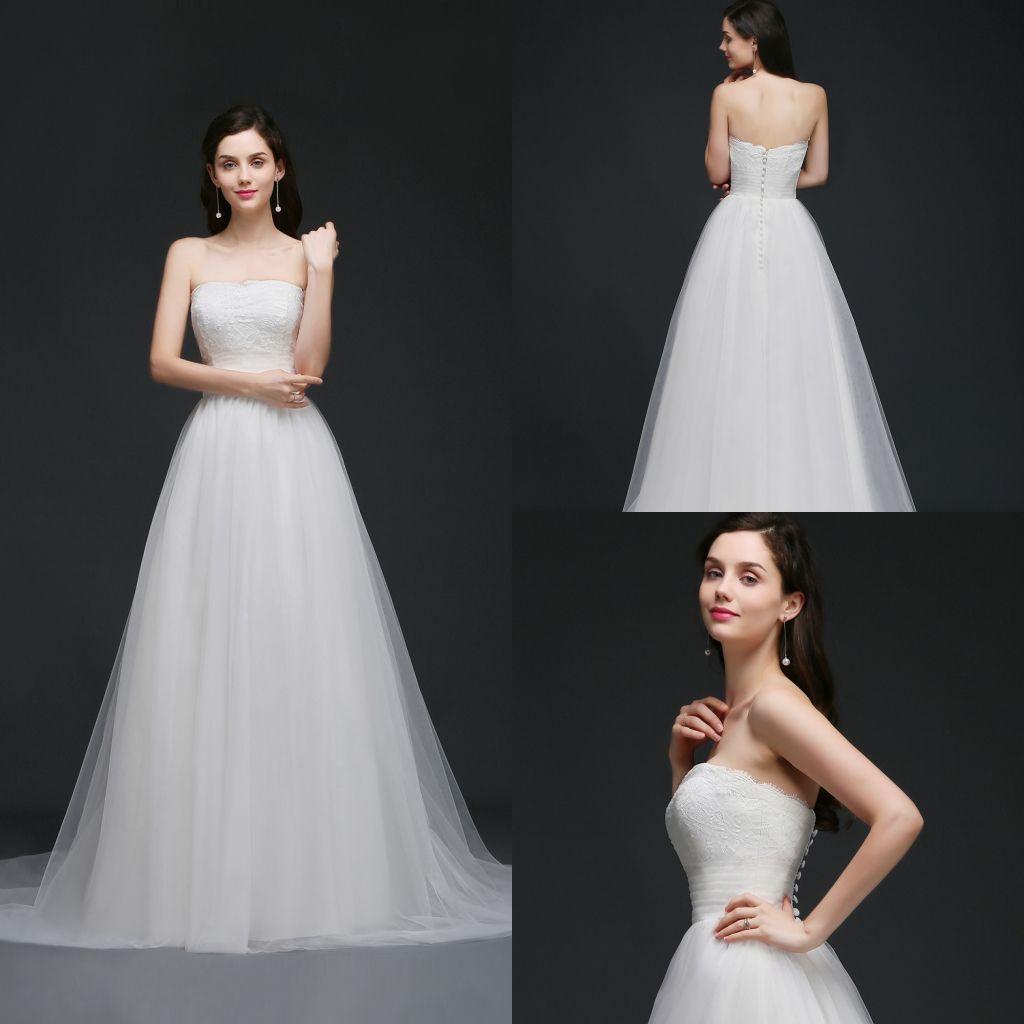 Discount 2018 New Elegant Simple Strapless Garden Wedding Dresses ...