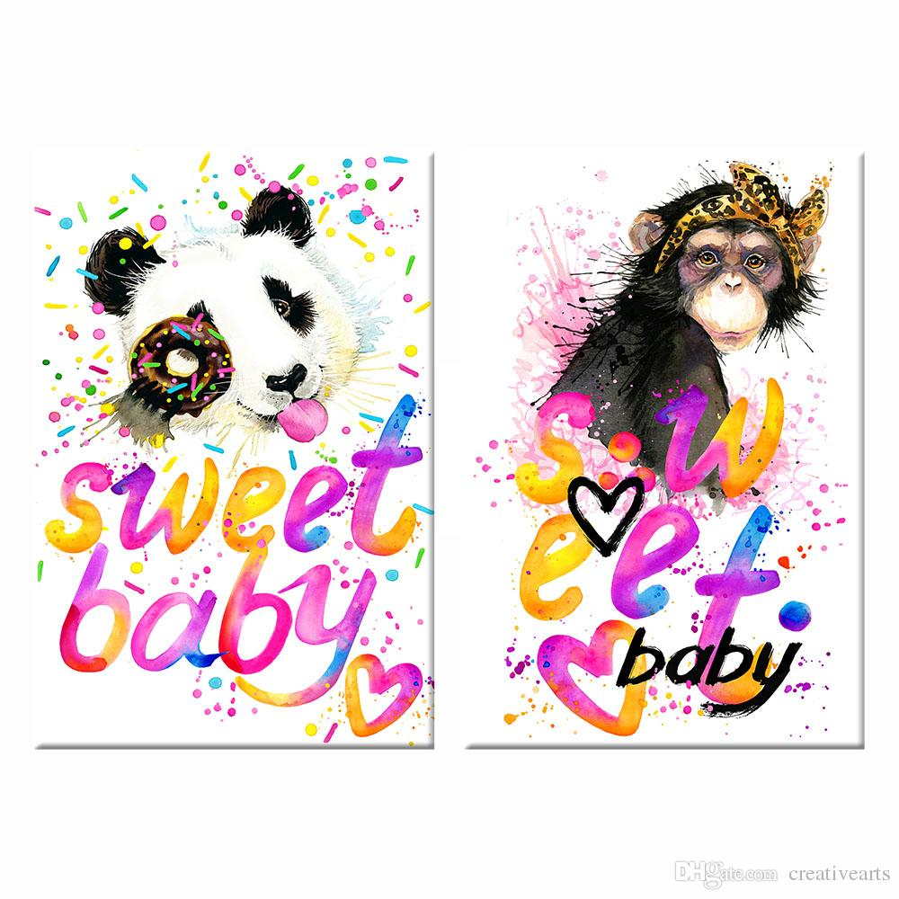 2018 Cute Monkey And Panda Picture Canvas Prints Sweet Baby Room