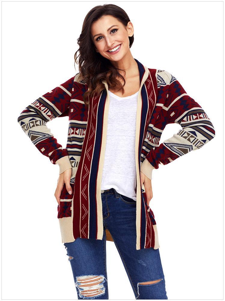 S M L XL Mulheres Outono-Inverno de manga comprida de tricô impressos casacos de malha blusas soltas roupas roupa Vestidos DLM27721
