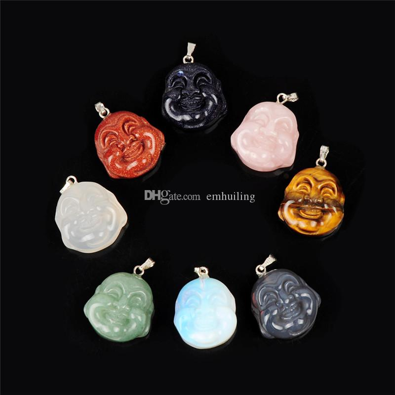 Mixed Natural Stone Rose Quartz Carved Hotei Laughing Maitreya Head Figurines Pendant Lucky Wealth Happy The Buddha of the Future Statue