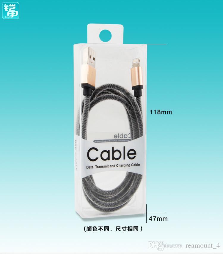 Оптовые новые мешки волдыря PVC для кабелей USB 2m упаковывая коробки для кабелей данным ПО Samsung яблока HTC пластичные коробки пакета
