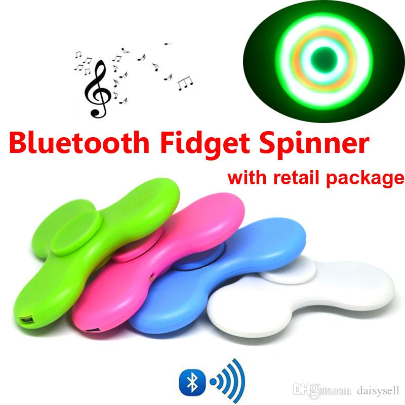 Optional Hand Spinner LED Light Bluetooth Fidget Spinner in Retail Box Metal Ball Bearings EDC Toy For Decompression Bluetooth Spinners