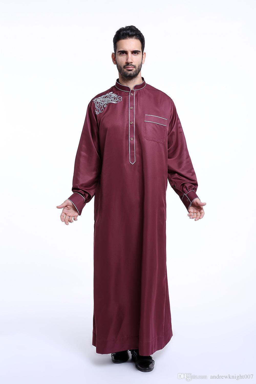 Abito da uomo musulmano a manica lunga con collo arabo Abaya islamico Abito da uomo indiano Kaftan DK721MZ