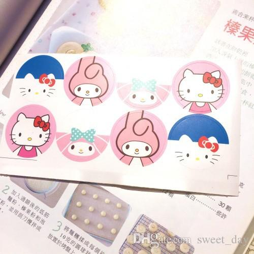 Free shipping super cute hello kitty/melody round sticker stickers DIY decorative sealing paster kids baby girl favors supply
