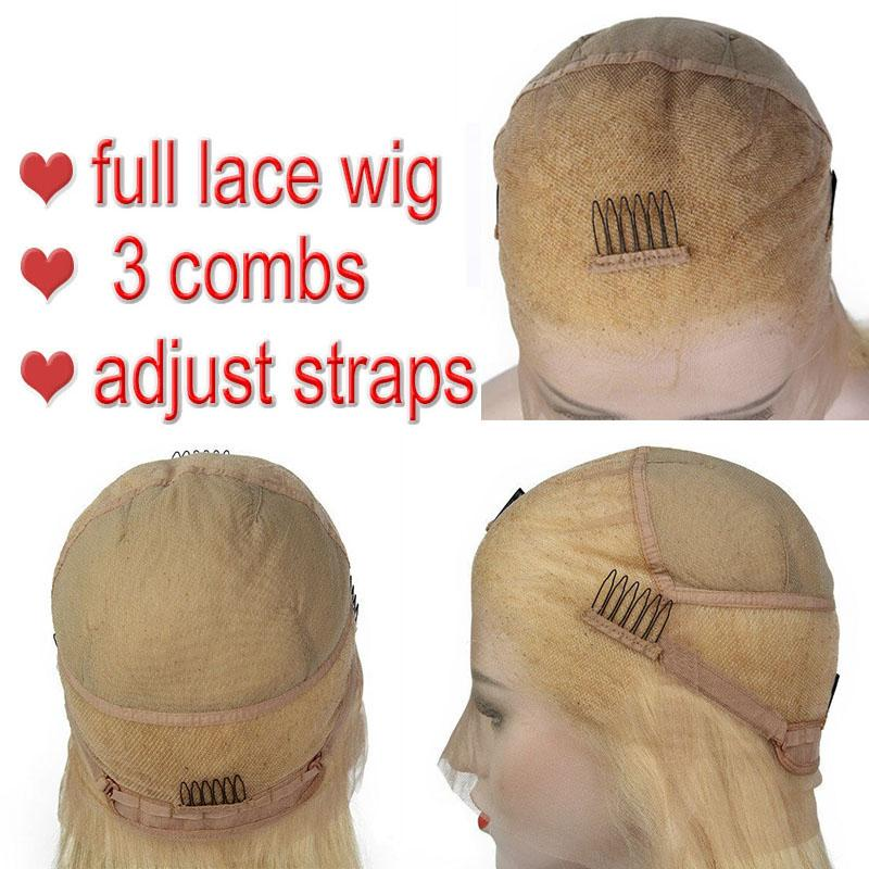 fashion Full Lace Human Hair Wigs Lightest Blonde 613 Peruvian Hair Straight Gluless Lace Front Human Hair Wigs for Black/White Women