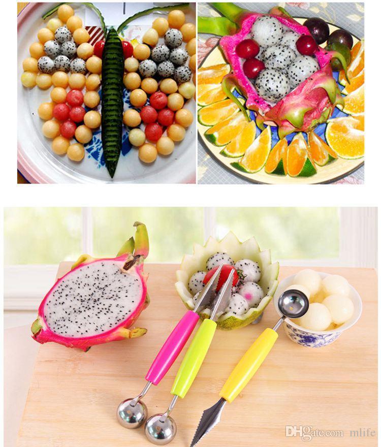Cabeça dupla Colher Bola Colher Colher Baller Criativo Assorted Pratos Frescos Ferramentas Melancia Melon Fruit Carving Faca Cortador
